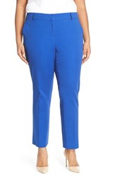 Plus Size Women's Halogen Slim Stretch Cotton Blend Ankle Pants Blue Mazarine
