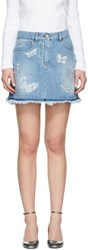 Valentino Blue Denim Embroidered Butterfly Miniskirt