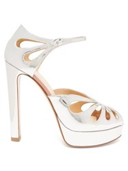 Francesco Russo Mary Jane Platform Metallic Leather Sandals Silver