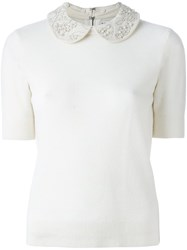 Alice Olivia Embellished Collar Shortsleeved Blouse White