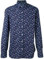 Barba Floral Print Shirt Pink And Purple