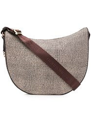 Borbonese Printed Hobo Shoulder Bag Nude And Neutrals