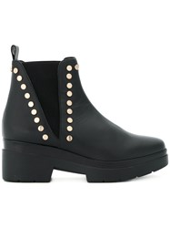 Albano Studded Chunky Ankle Boots Calf Leather Leather Rubber Polyester Black