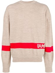 Oamc Colour Block Logo Sweater Nude And Neutrals