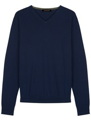 Jaeger Merino Wool V Neck Jumper Navy