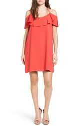 One Clothing Women's Ruffle Cold Shoulder Dress Coral