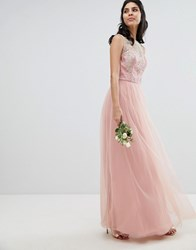 Chi Chi London Bardot Neck Sleeveless Maxi Dress With Premium Lace And Tulle Skirt Vintage Rose Gold Pink