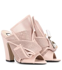 N 21 Knotted Leather Open Toe Pumps Pink