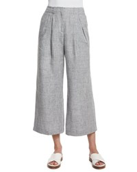 Michael Kors Mid Rise Pleated Front Cropped Linen Pants Pearl Gray Melange Pearl Grey Melang