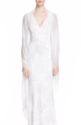 Women's St. John Collection Crystal Embellished Silk Georgette Wrap White Bianco Silver