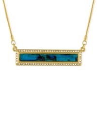 Rachel Roy Gold Tone Abalone Look Pave Bar Necklace