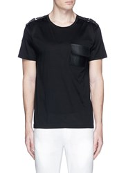 Valentino Leather Patch Pocket T Shirt Black