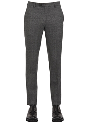 Faconnable 18Cm Checked High Twist Wool Trousers Grey