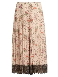 Red Valentino Blooming Garden Print Pleated Crepe Skirt Beige Multi