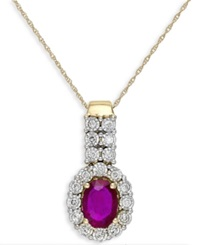 Macy's Ruby 1 1 10 Ct. T.W. And Diamond 1 4 Ct. T.W. Pendant Necklace In 14K Gold Yellow Gold