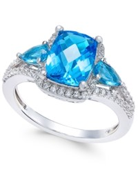 Macy's Swiss Blue Topaz 2 5 8 Ct. T.W. And White Topaz 1 4 Ct. T.W. Ring In Sterling Silver