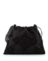 Prada Large Embroidered Drawstring Hobo Bag Black