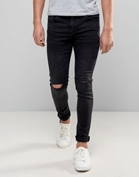 Pull And Bear Super Skinny Jeans With Knee Rips In Washed Black Gray