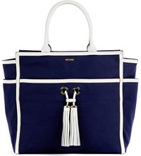 Melissa Odabash Palm Beach Canvas Tote Bag Navy