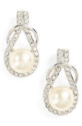 Nina Women's Knot Imitation Pearl Drop Earrings Ivory Pearl Silver
