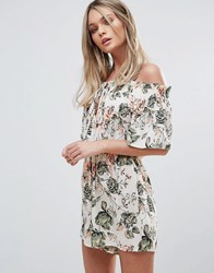 Oh My Love Off Shoulder Print Playsuit Neon Floral Multi