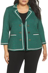Ming Wang Plus Size Knit Jacket Pine Black Ivory