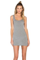 Bobi Light Weight Jersey Open Back Sleeveless Mini Dress Gray