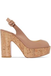 Christian Louboutin Dona Anna 120 Leather Slingback Platform Sandals Neutral