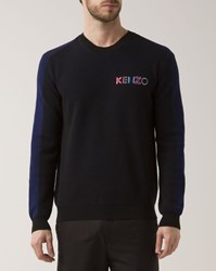 Kenzo Black Dual Fabric Crew Neck Logo Sweater