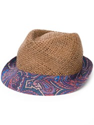 Etro Paisley Print Brim Hat Brown