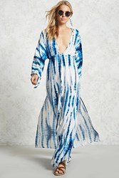 Forever 21 Plunging Tie Dye Maxi Dress Blue White