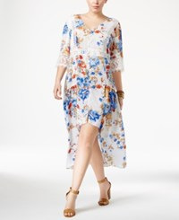 American Rag Trendy Plus Size Floral Print High Low Midi Dress Only At Macy's Egret Combo