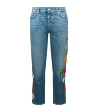 7 For All Mankind Josefina Embroidered Flower Jeans Female Blue