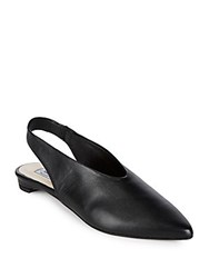 Saks Fifth Avenue Leather Slingback Flats Black