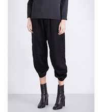 Strom Ruched Detailed Mid Rise Cropped Woven Trousers Black
