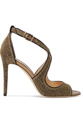 Jimmy Choo Emily Leather Trimmed Textured Lame Sandals Gold