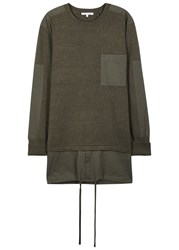 Helmut Lang Olive Layered Wool Blend Jumper Brown
