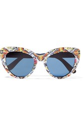 Dolce And Gabbana Cat Eye Printed Acetate Sunglasses Blue