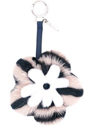 Fendi Flower Charm Women Mink Fur One Size Pink Purple