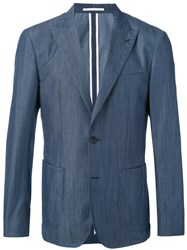 Hardy Amies Slub Blazer Cotton Blue