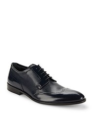 Galliano Textured Wingtip Derby Shoes Blue
