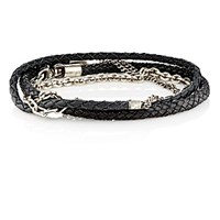 Title Of Work Men's Mixed Chain And Leather Wrap Bracelet Silver
