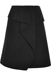 Oscar De La Renta Draped Wrap Effect Wool Skirt Black
