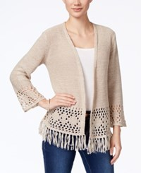 Styleandco. Style Co. Fringe Open Front Cardigan Only At Macy's Natural Heather