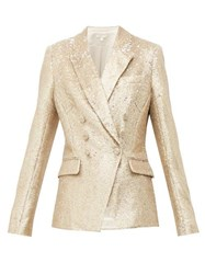 Jonathan Simkhai Distressed Sequinned Double Breasted Blazer Gold