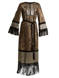 Andrew Gn Fringed Edge Tie Waist Brocade Gown Gold