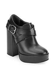 Jil Sander Round Toe Leather Ankle Boots Black