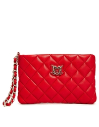 Love Moschino Quilted Clutch In Red With Chain Wristlet