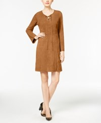 Ny Collection Faux Suede Lace Up Fit And Flare Dress Tan