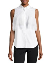 Brunello Cucinelli Layered Tulle Detailed Poplin Blouse White